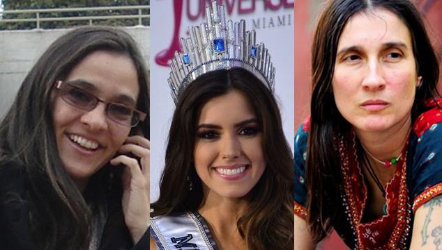 Foto delle tre colombiane: Andrea Echeverri (scrittrice sx), Miss Universo 2015 Paulina Vega (centro), Andrea Echeverri (cantante dx)