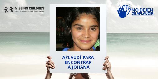 Johana está perdida. Doná tu aplauso y ayudanos a encontrarla. #NoDejenDeAplaudir https://t.co/BmwIYuetok