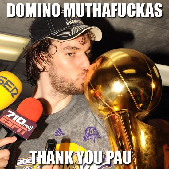 DOMINO MUTHAFUCKAS!!!! LAKERS WIN! #FEARLA #GoLakers #ThankYouPau