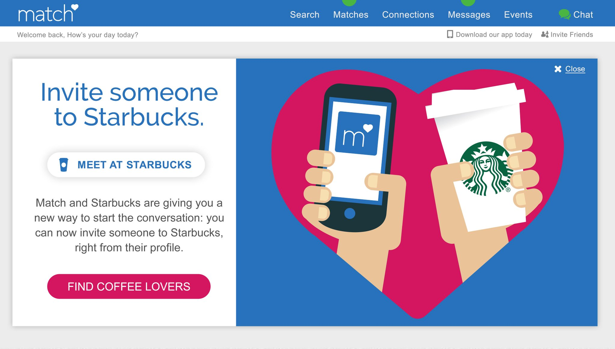 Starbucks, Match want you to have your first date at Starbucks http://t.co/7d0c9MNVbD http://t.co/ChkZHuxX8X