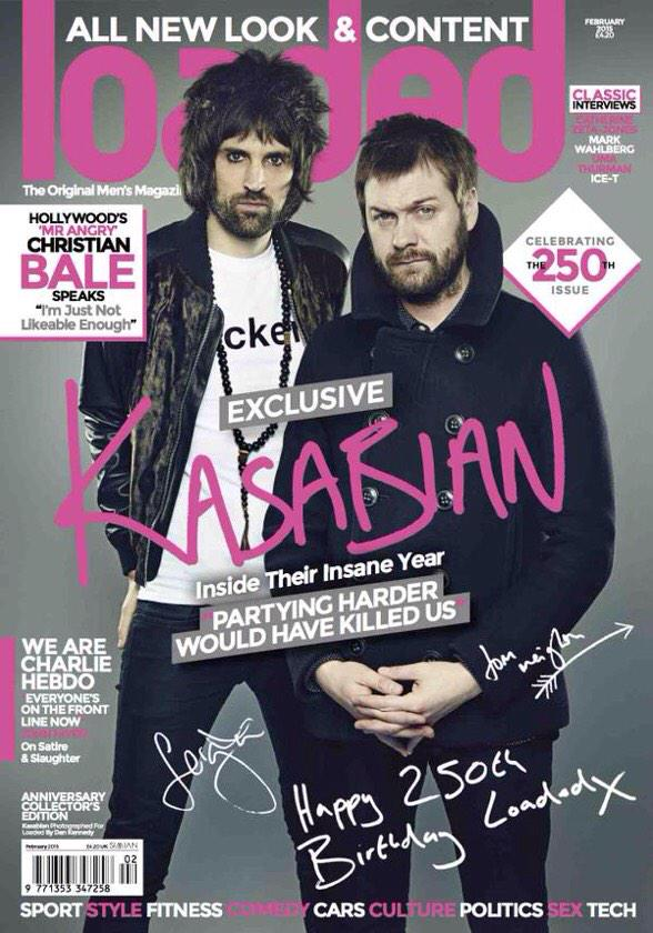 Looking good boys! Thanks to @KasabianHQ for helping us mark the 250th @loadedmag Anniversary Edition. Out today. http://t.co/qUe0pPsumw
