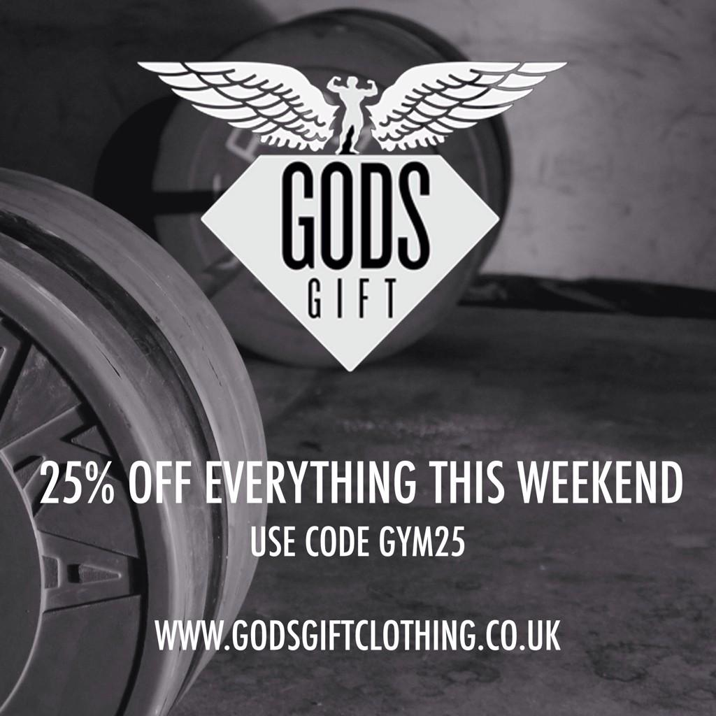 Get 25% OFF all items @godsgiftltd Clothing this weekend only!! By using code GYM25 http://t.co/17NSSCy3Qo http://t.co/1QNnxpMis7