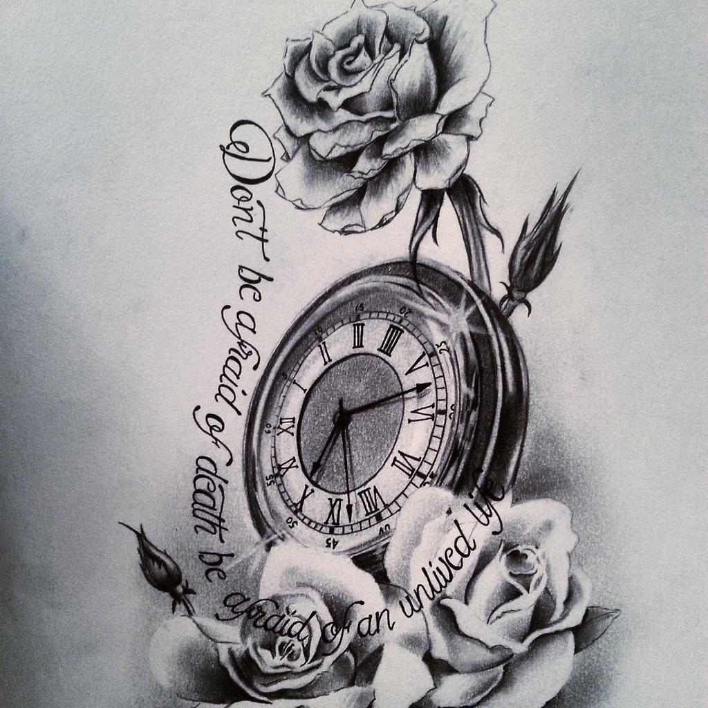 Juan Macias On Twitter Diseño Tattoo Reloj Y Rosas Con Frase Http