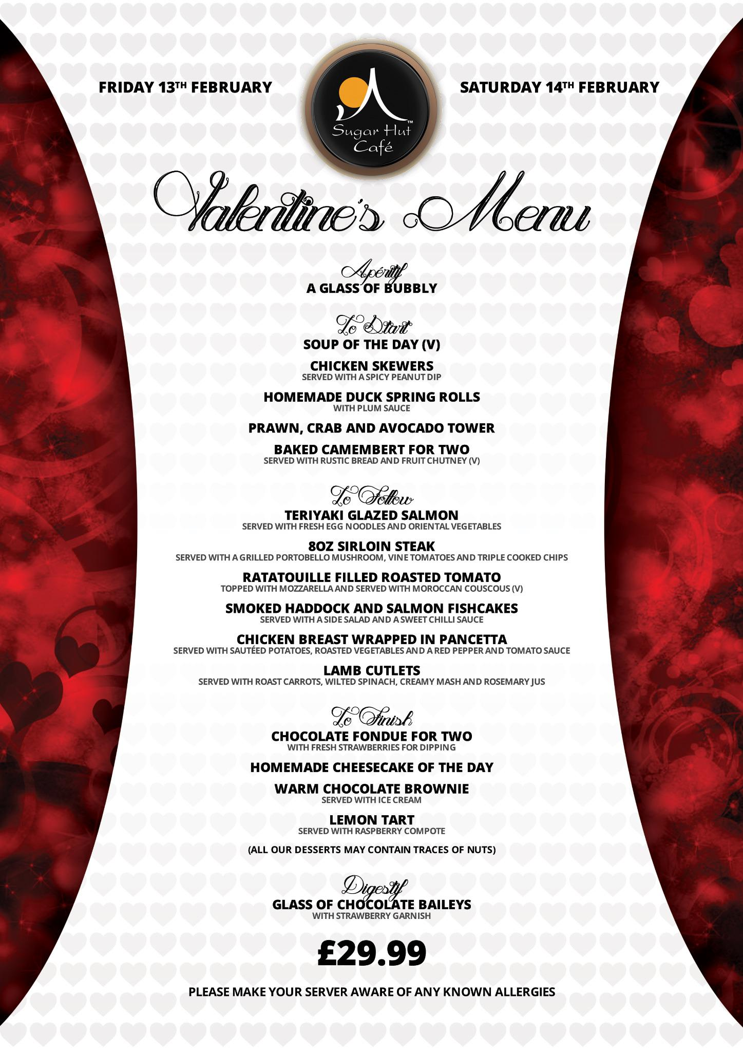 Love is in the air at @SugarHutCafe this Valentine's weekend. 5 Courses for £29.99 http://t.co/NKVXB7J1cq