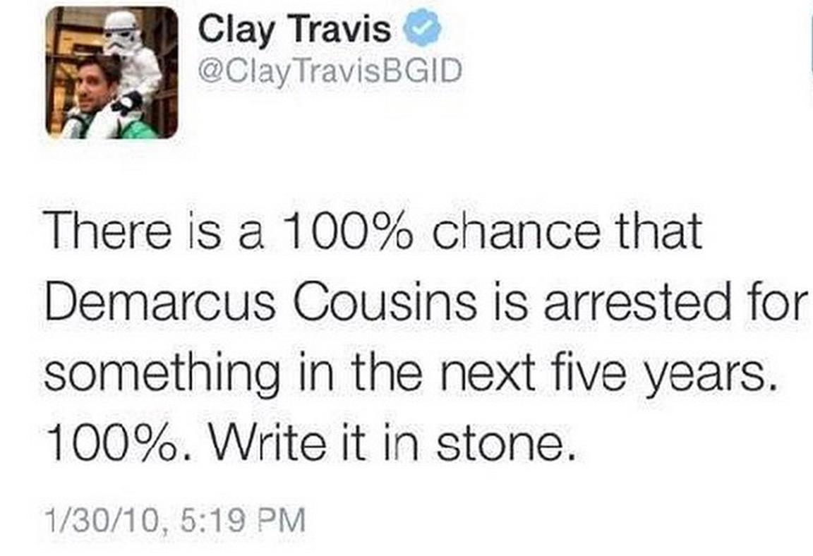 DeMarcus Cousins calls out a writer who guaranteed he'd be arrested #Owned http://t.co/P0Fdpi67rs http://t.co/5DsMlyGuub