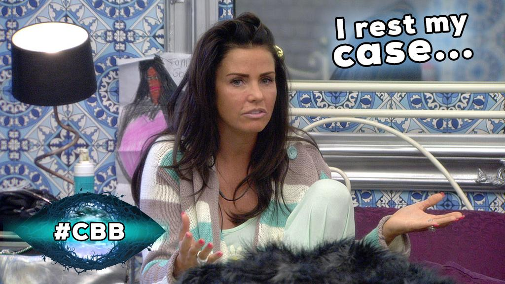 Case? As far as Pricey's concerned it's CLOSED. Who won that little spat in your eyes? #CBB #CBBKatieP http://t.co/EqstGygygI