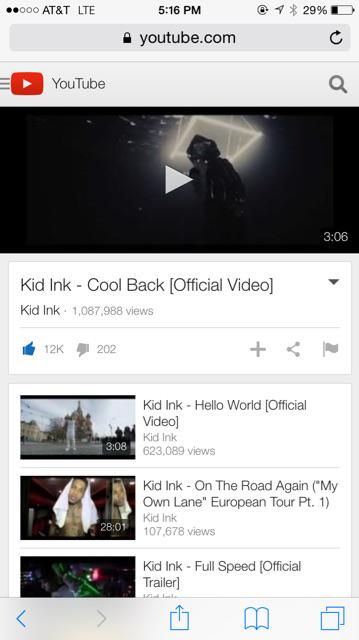 . @Kid_Ink Cool Back Prod. By @CPDUBB Hit 1 Million View Already! http://t.co/CkQS245AO7 Turn Up #FullSpeed 2.3.2015 http://t.co/xQ87TEJRG7