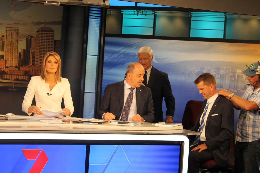 Getting wired up for @7NewsBrisbane's election coverage. AG Team #qldvotes #qldpol http://t.co/CCDQJFboT4