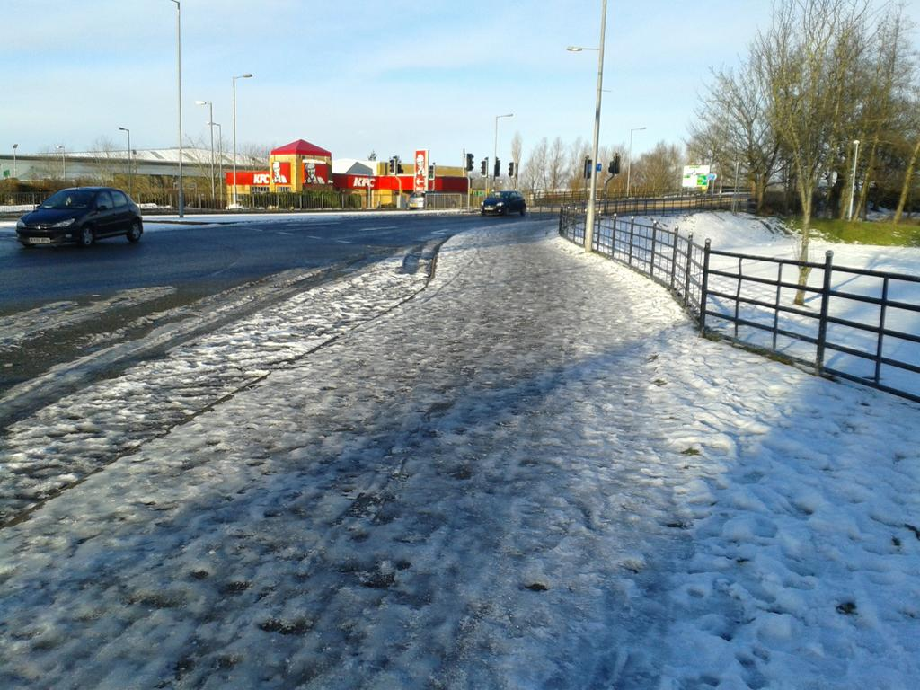 icy pavement, clear road