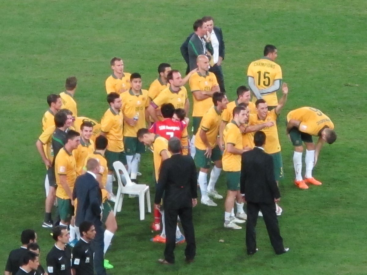 Great moment as Son Heung-min comes into the Australian team to comfort his injured Levekusen teammate, Robbie Kruse http://t.co/y9PyjyG5Ms