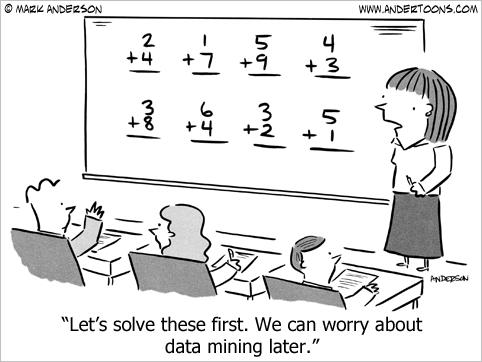 Cartoon: Lets solve 2+4=? first, worry about Data Mining Later