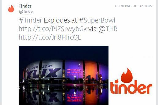 See brands like @tinder tweet the #SuperBowl right now -- Check out our brands-only feed http://t.co/YMX1uxf4hG http://t.co/LAl8N7OyVt