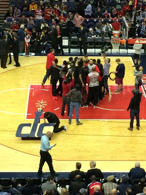 On the road the #Raptors don't acknowledge individuals during starting intros. They circle together #rtz #15strong http://t.co/Hwi0CatPPB