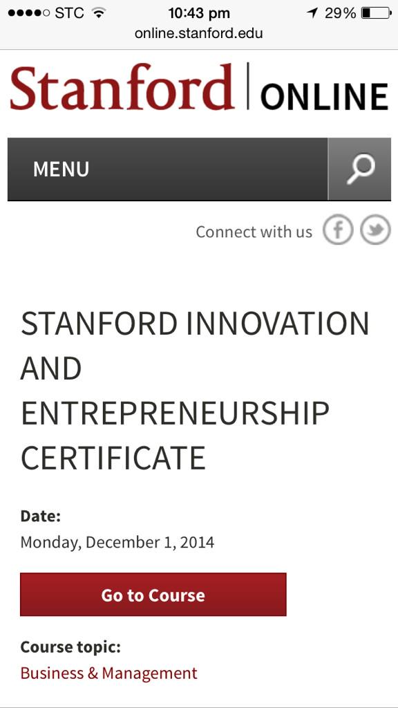 On Twitter Online Course Stanford Innovation
