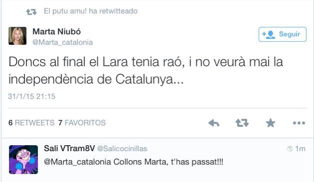 Twitter, el diari Ara, la Tv3... els independentistes estan contents perquè ha mort Lara Bosch. Fan vergonya. http://t.co/xMJShq54zw