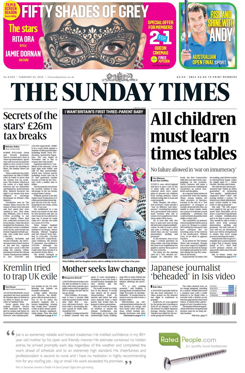 Sunday times front page: all children must learn times ...