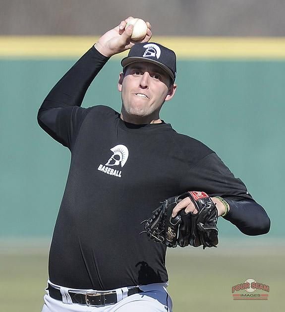 Pitcher Ian Farrell (44) of USC Upstate @UPSTBSB delivers a pitch in today's intrasquad scrimmage. http://t.co/TG6y5SZbbK