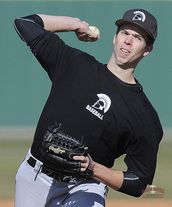 Pitcher Bryan Hathaway (29) of USC Upstate @UPSTBSB delivers a pitch in today's intrasquad scrimmage. http://t.co/7GFEb7i8aw