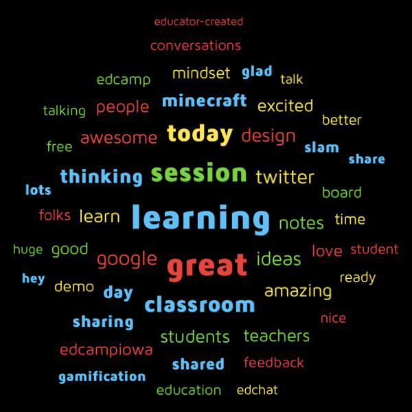 The 50 most used words in tweets from #edcampdenver. Thanks for a great day of learning! http://t.co/hDHiMypsPf