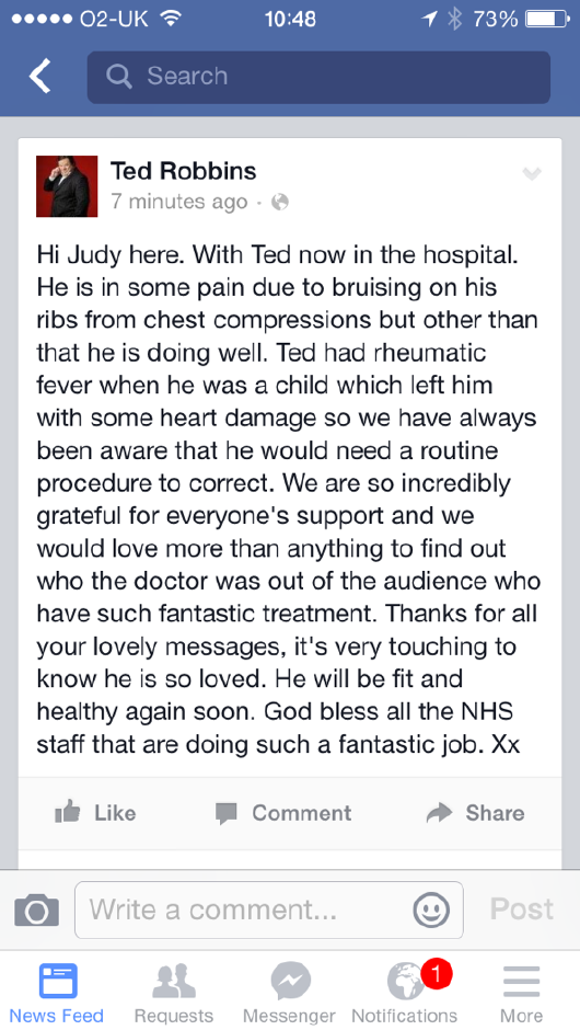 A word from Ted's wife. Thank you for all your support http://t.co/087OkYrPPC