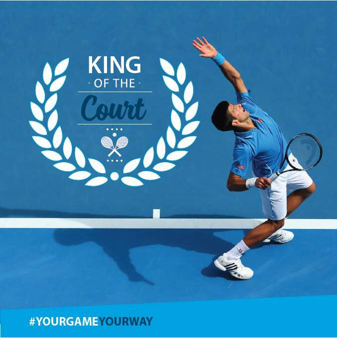 It's official-he's King of the Court! Congrats @djokernole on your #ausopenfinal win! #YourGameYourWay #nolefam http://t.co/EU7ztmKv66