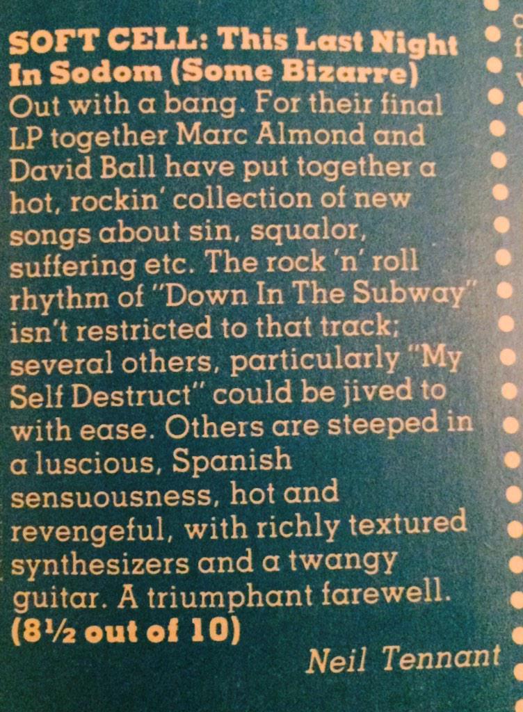 Smash Hits Mar '84 @MarcAlmond @petshopboys http://t.co/JYqvbrSVIS