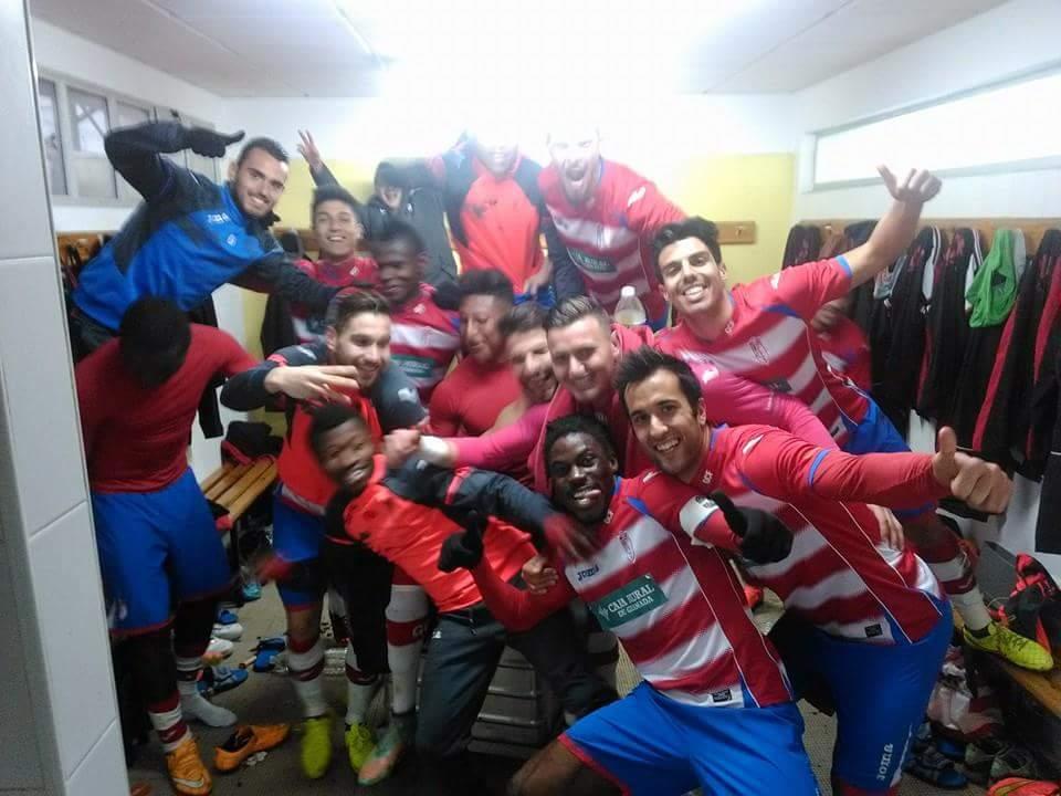 Dimitrievski celebrates the win with teammates