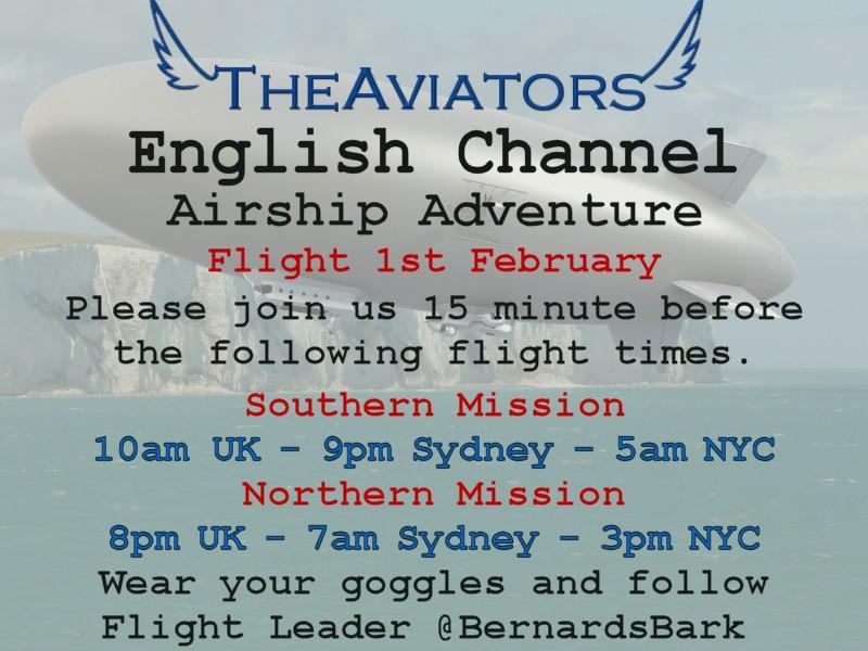 Thirty minutes until we gather for #TheAviators English Channel Airship adventure! Guests most welcome to join us! http://t.co/xcSAgtnIJy