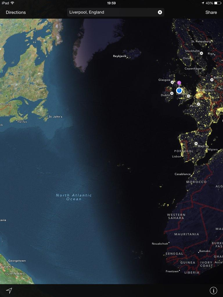 Never noticed before. Zoom out on Apple maps and it shows you the Day and Night border. Cool! http://t.co/TLQ229Wp5q