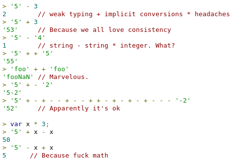 """I don't want 2 code with whoever writes that code anyways """"@barraganc: """"@Sh1bumi: The reason why javascript sucks.. http://t.co/ABX7J2gywl"""""""""""