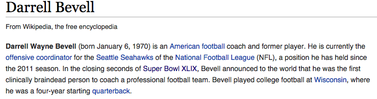Somebody had some fun with Seahawks OC Darrell Bevell's Wiki page http://t.co/vqh4qLSOtr