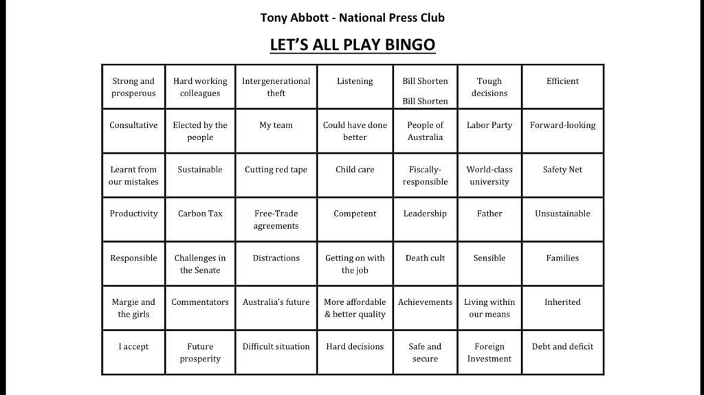 Shorten's office distributes this bingo game... #npc http://t.co/7vM8Ee2fku