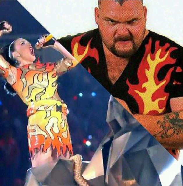 Thank you @KatyPerry for your salute to @WWE Legend #BamBamBigelow!  #SB49 #Halftime http://t.co/DXJiTYiaoQ