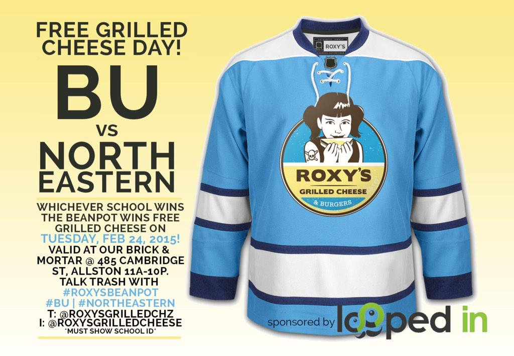 The #Beanpot is one week away. And the winning school wins free grilled cheese day! @BU_Tweets @Northeastern http://t.co/jmtpzLtaXa
