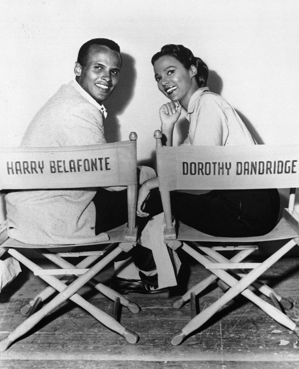 On film set of Carmen Jones with Black actors Harry Belafonte and Dorothy Dandridge. #BlackHistoryMonth #BlackTwitter