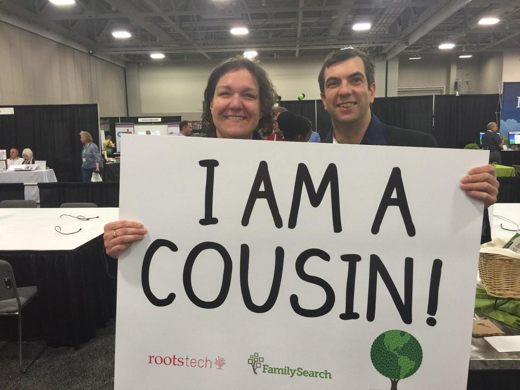 Enjoying the media room with @ajjacobs @RootsTechConf #rootstech2015 I am a cousin !! http://t.co/wJ7htNjy7x