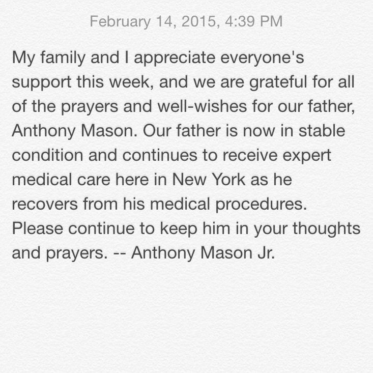 Just received release from @YuNgMaseJr / Anthony Mason, Jr. On his father's status. #PrayForBigMase #AnthonyMason http://t.co/IlN1Eto20x