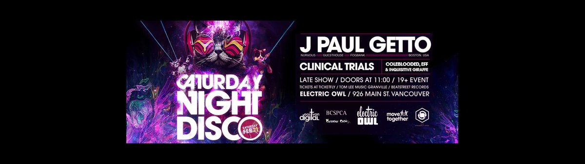 Feb 21 Caturday Night Disco back at the Owl with @jpaulgetto for a night of funky house music! http://t.co/0KlcHwZ8SM http://t.co/ph14ZLriVV