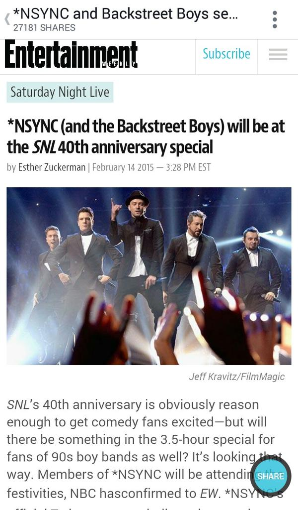 WHATTTTT????? Tomorrow will be the greatest day of my life!!! #SNL40 @NSYNC  😍😍😍😍😍 http://t.co/9ia3kpHSDY
