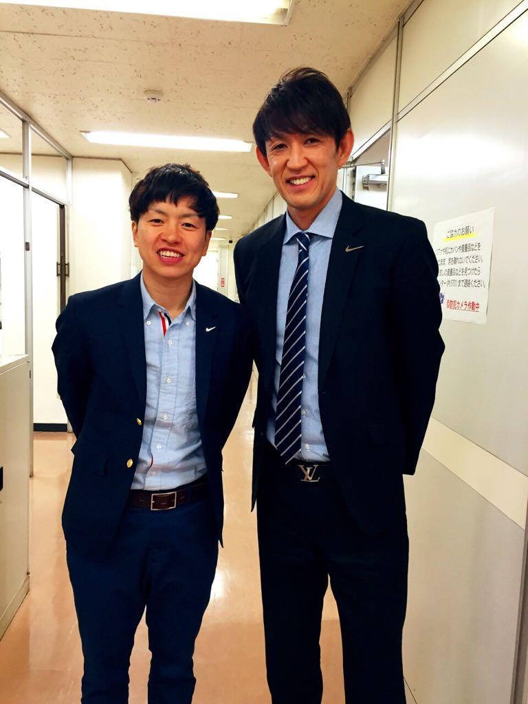 NHK総合 サンデースポーツ終了後。大神さんとツーショット。相変わらず元気で礼儀正しい子でした!(^з^)-☆ http://t.co/lI92pWTVe9