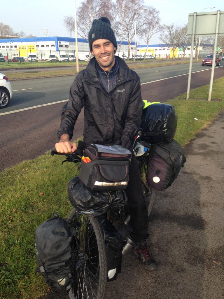 I just stopped this guy and asked him where he's riding to. The answer 'I'm riding round the world' - 18.3k km done! http://t.co/bnTHoClmp9