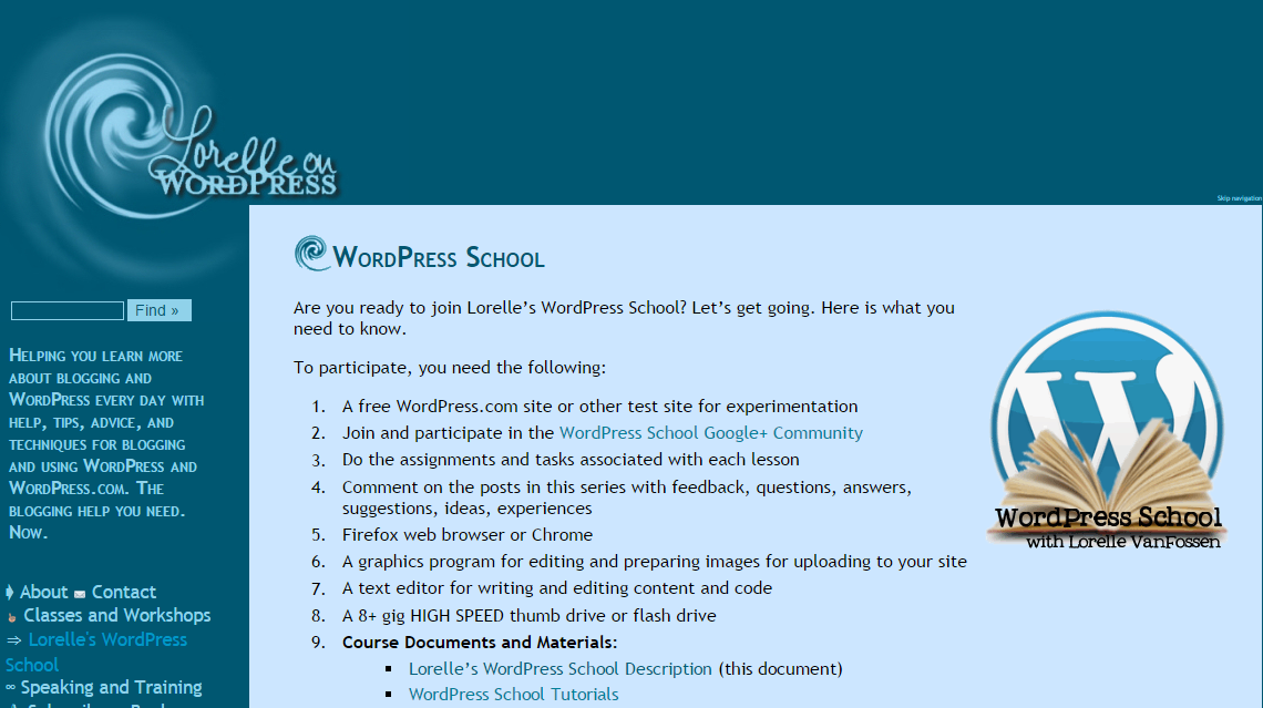Want to learn everything about WordPress? Join Lorelle's WordPress School https://t.co/FbYa2iBzRC by @lorelleonwp http://t.co/a0m1MYWSvX