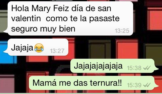 La evolución de mi mamá con el whats app, hasta mensajes de san Valentín me manda!! Jajajajaja http://t.co/d7Y6D2Uk4T