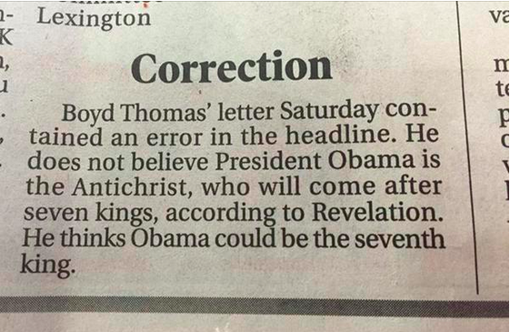 Correction from the Lexington, North Carolina, Dispatch: Obama not the antichrist.