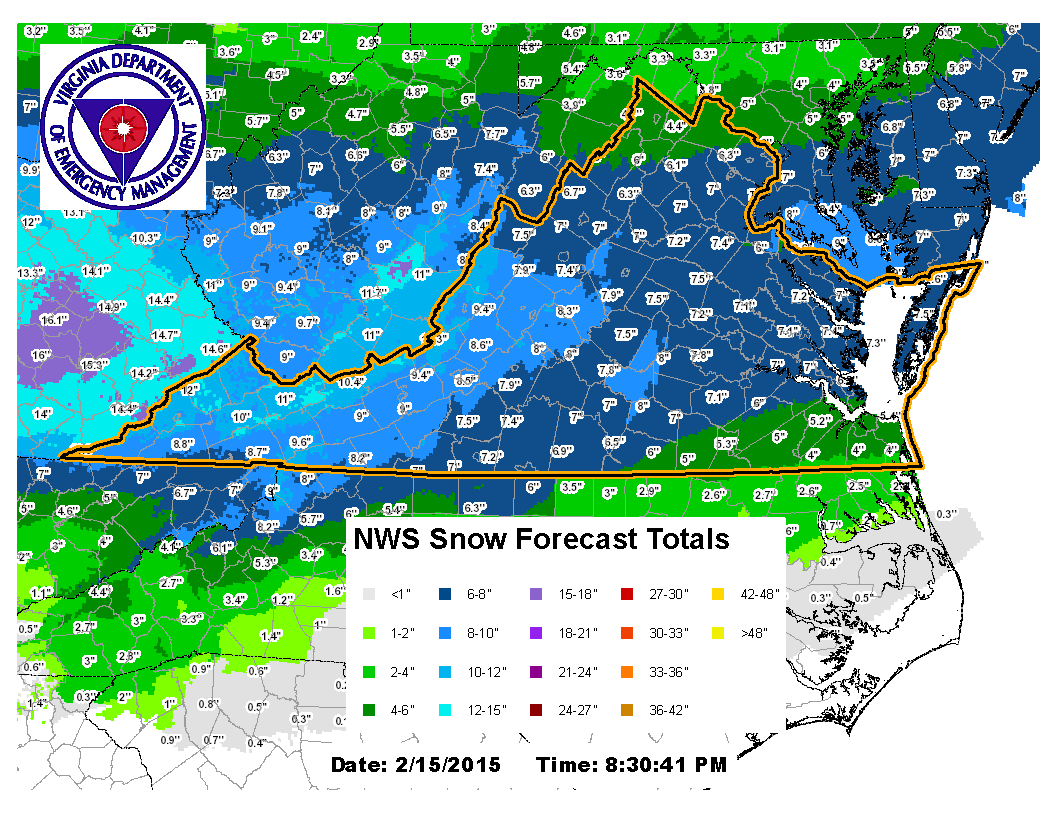 As requested...Here's the potential snowfall totals in Va for the duration of the storm Mon.-Tues. #VAwx http://t.co/Rtaeql2hve