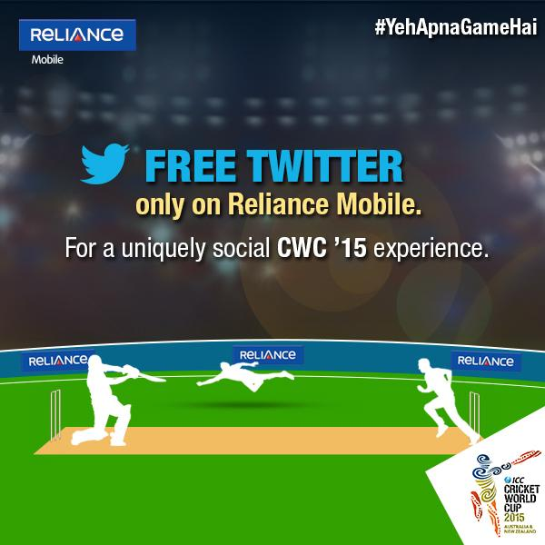 reliance free twitter world cup 2015 offer