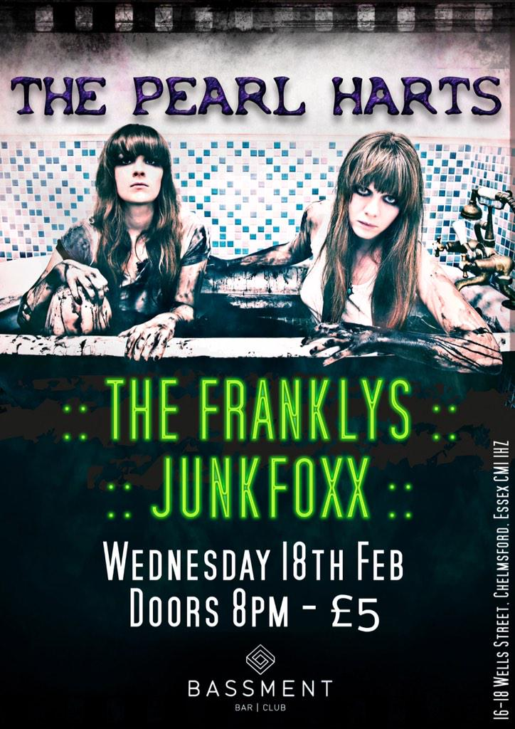 Club static on Wednesday presents @TheFranklysUK @ThePearlHarts  at @clubstatic192 be there! http://t.co/bCNXB4tYNA