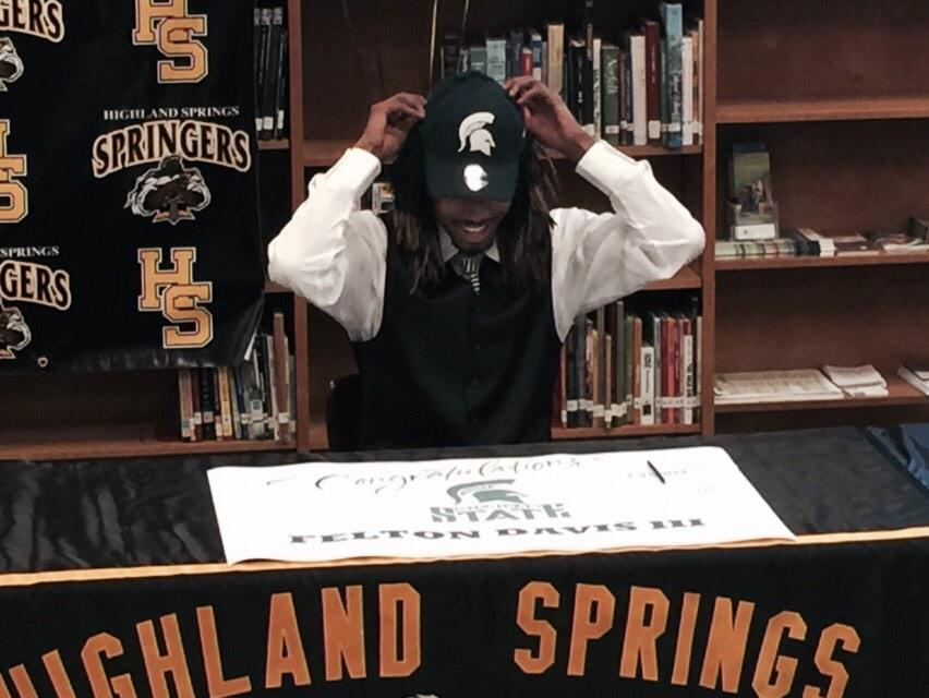 At Highland Springs, @_BeastMode18 signs with @MSU_Football #NSD2015 #NationalSigningDay http://t.co/eFQmVxCUe9