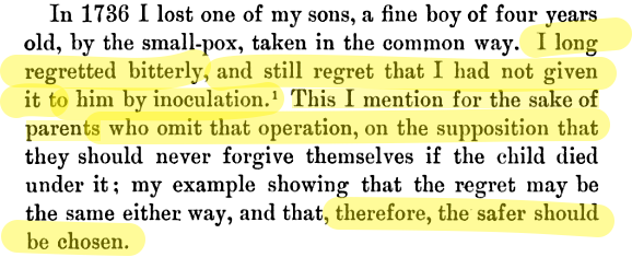 Ben Franklin lost a son to smallpox. His sobering advice to parents on vaccinations: http://t.co/dITuU49vCB http://t.co/IpvjTiQemq