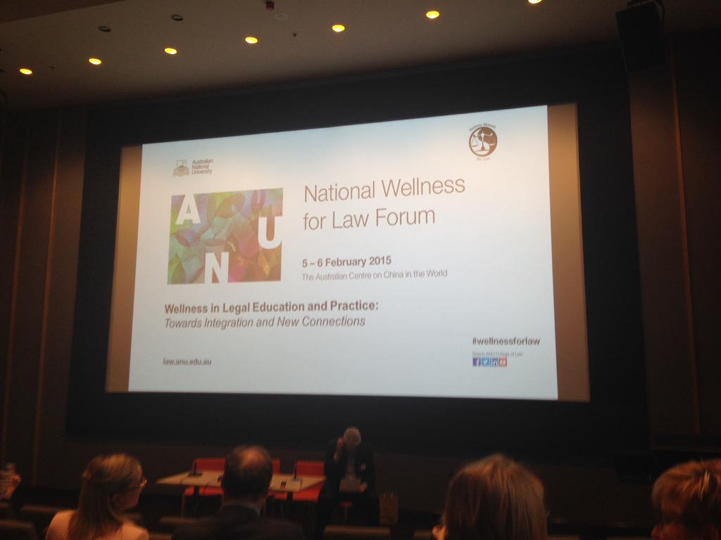 #wellnessforlaw forum kicking off - anything you want me to report back on: academics, lawyers, law students? http://t.co/B0AjejG7TI